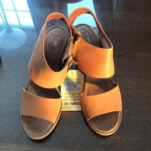 Toms high heel leather sandals - size 10